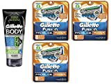 Gillette Body Non Foaming Shave Gel for Men, 5.9 Fl Oz + Fusion Proglide Power Refill Blades 8 Ct (3 Pack) + FREE Assorted Purse Kit/Cosmetic Bag Bonus Gift