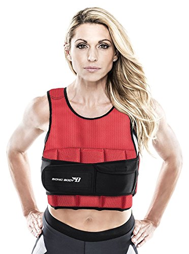 Bionic Body 15 lb. Adjustable and Removable Weighted Vest - Black and Red BBWV-9515