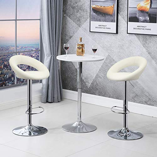 Duhome 2 PCS Contemporary Barstools Synthetic Leather Swizzle Swivel Hydraulic Adjustable Bar Stools Kitchen Counter Top Chair White