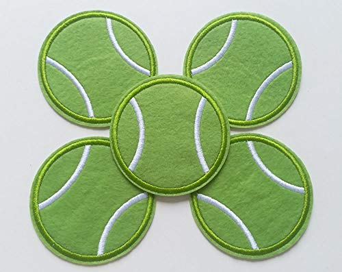 Supersevenday Bulk Set of 10pcs Tennis Ball Green Iron On Sew On Cloth Embroidered Patches Appliques Machine Embroidery Needlecraft Sewing Projects Crafts Making DIY 7x7cm
