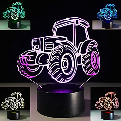 (SUPERNIUDB 3D Tractor Night Light 3D LED USB 7 Color Change LED Table Lamp Xmas Toy)