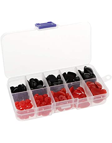 Safety Eyes Black+Red 150pcs 7-20mm Plastic Safety Eyes and Safety Noses with Storage Box for Doll Making Puppet