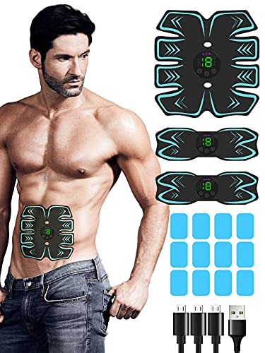 Abs Stimulator, 2021 Upgraded Muscle Stimulator with 12PCS Extra Gel Pads Replacement for Building Muscles, USB Rechargeable Toning Belt Muscle Toner Abs Workout Equipment for Women & Men