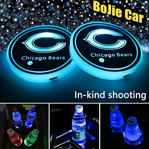2pcs LED Car Chicago Bears Logo Cup Holder Lights for NFL Chicago Bears,7 Colors Changing USB Charging Mat Luminescent Cup Pad, LED Interior Atmosphere Lamp Decoration Light. (Chicago Bears)