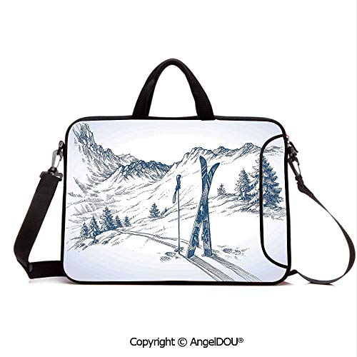 (AngelDOU Laptop Sleeve Notebook Bag Case Messenger Shoulder Laptop Bag Sketchy Graphic of a Downhill with Ski Elements in Snow Relax Calm View Compatible with MacBook HP Dell Lenovo Blue White)