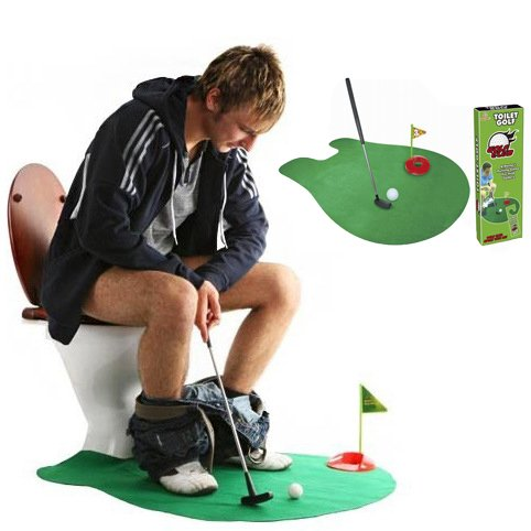 (WFPLUS INC Toilet Golf, Potty Golf Drinker Toilet Toy Putter Putting Game Golfing Indoor Practice Mini Golf Gift Set Golf Training Accessory for Men Women and Kids)