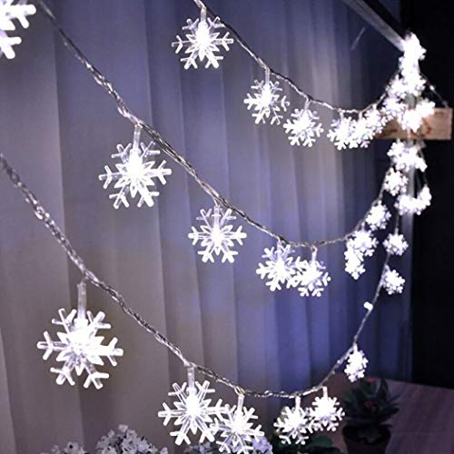 B bangcool Snowflake String Lights Christmas 32.8ft Snowflake String Lights Battery Powered Waterproof Decorations String Lights Decor for Indoor/Outdoor Birthday, Halloween, Thanksgiving, Xmas