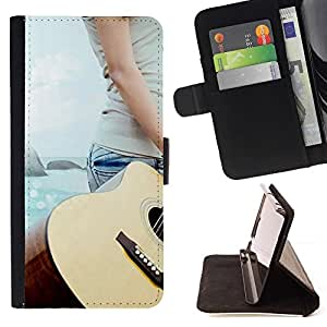 Momo Phone Case / Flip Funda de Cuero Case Cover - Música Guitarra Beach - LG G2 D800