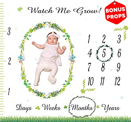 Monthly Baby Milestone Blanket - Month Blanket for Baby Pictures   Blanket with Baby Photo Props   Bonus Floral Wreath and Card   Newborns Baby Boy and Girl Milestone Blanket   Photography Background