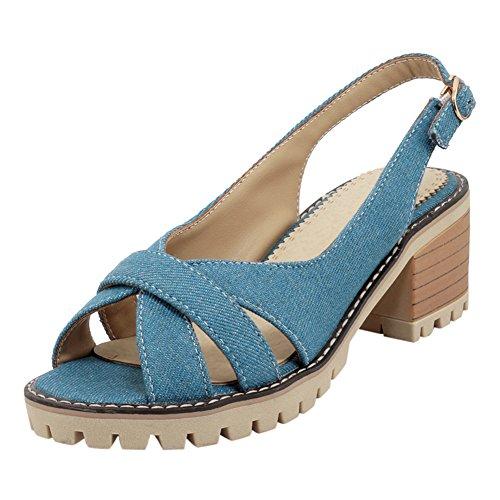 en Escarpins UH Sandales Talons Ouvert Out Bleu Confortables Chunky Denim Femmes Cut Bout wHqYC0w