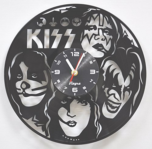 KISS Vinyl Wall Clock Rock Music Home Decor Modern Wall Art Unique Vinyl Record Clock Rock Band Home Decorations Gift for Him Birthday Retro Music Vinyl Art Hard Rock Wall Artwork Poster black