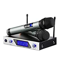 ARCHEER VHF Wireless Microphone System, Handed Professional Home KTV Set with Dual Channel Microphone for Conference, Karaoke, Recording, YouTube, EveningParty