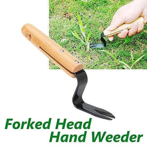 Katoot@ Garden Forked Head Hand Weeder Puller Patio Steel Wood Handle Remove Weeds Shovel Courtyard Trimming Tools Garden Ornament
