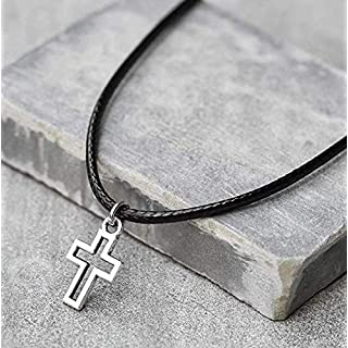 Handmade Black Fabric Necklace For Men Set With Stainless Steel Cross Pendant By Galis Jewelry - Cross Necklace For Men - Religious Necklace For Men - Christian Necklace For Men