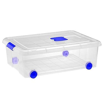 Gran caja de clasificación de plástico con ruedas (Mod. 10), Natural,