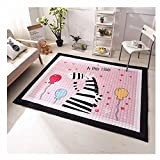 Ustide Baby Play Mat Cotton Floor Gym - Non-Toxic Non-Slip Reversible Washable, Large (Pink Horse)