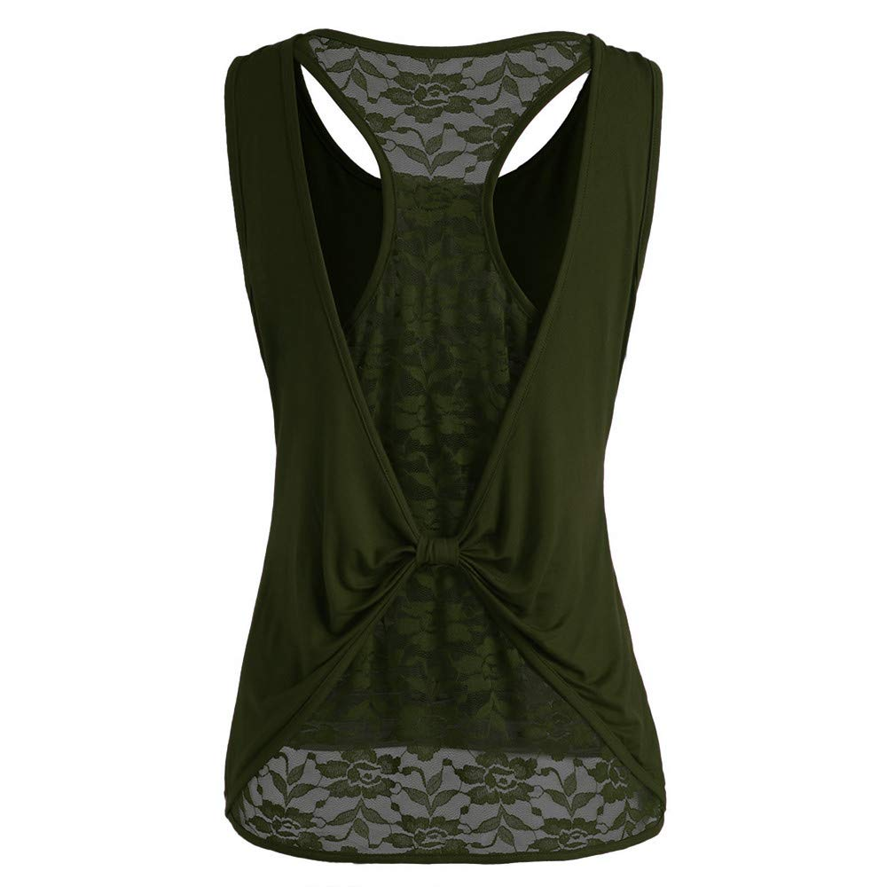 Women Solid Sleeveless Top Lace Knot Design Tunic V Neck Blouse T Shirt Cami Tank Vest Green