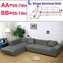 Taiyucover Anti-Skid Dustproof Sofa Slipcovers ;Armchair/2-Seater/3-Seater Sofa Covers; Sectional Corner L-Shaped Sofa Protector Decoration (Grey, L-Shaped Sofa(2-Seater Sofa + 2-Seater Sofa))