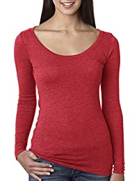 Womens Crystal Casual Chic Tri Blend Pullover Long Sleeve Top
