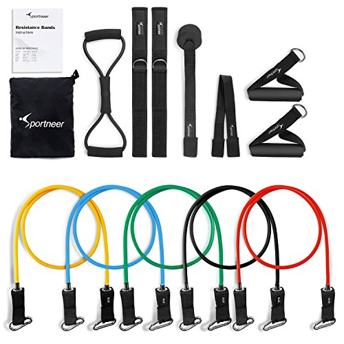 Resistance Bands Sportneer Exercise Band Set, for Home Gym Workout, with Door Anchor, Ankle Strap and Chest Expander Exercise Bands Tubing
