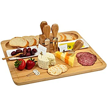 Picnic at Ascot Deluxe Bamboo Cheese Board/Charcuterie Platter with 4 Stainless Steel Tools, 2 Ceramic Trays and 4 Cheese Markers - A Great Holiday Gift for all Gourmets