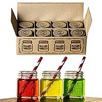 Hayley Cherie - Vasos de chupito con tapa Mason Jar (juego de 8) - Mini mason Shooter Glass - 2 onzas