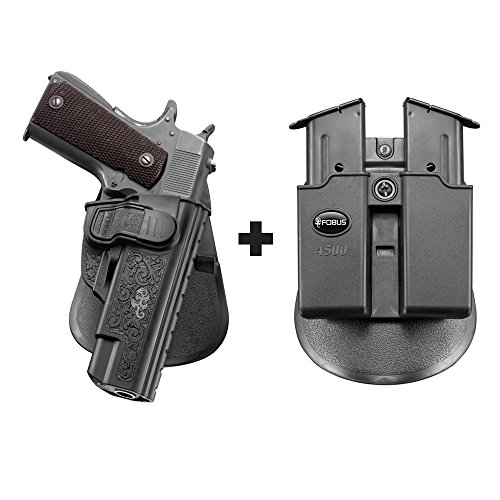 Fobus Elite Paddle (Fobus 1911CH Paddle Black Right Hand Concealed Carry Holster Sig 1911 Emperor Scorption .45, Match Elite 9mm, 22LR and similar others, all without rails + 4500 Double Magazine Pouch)