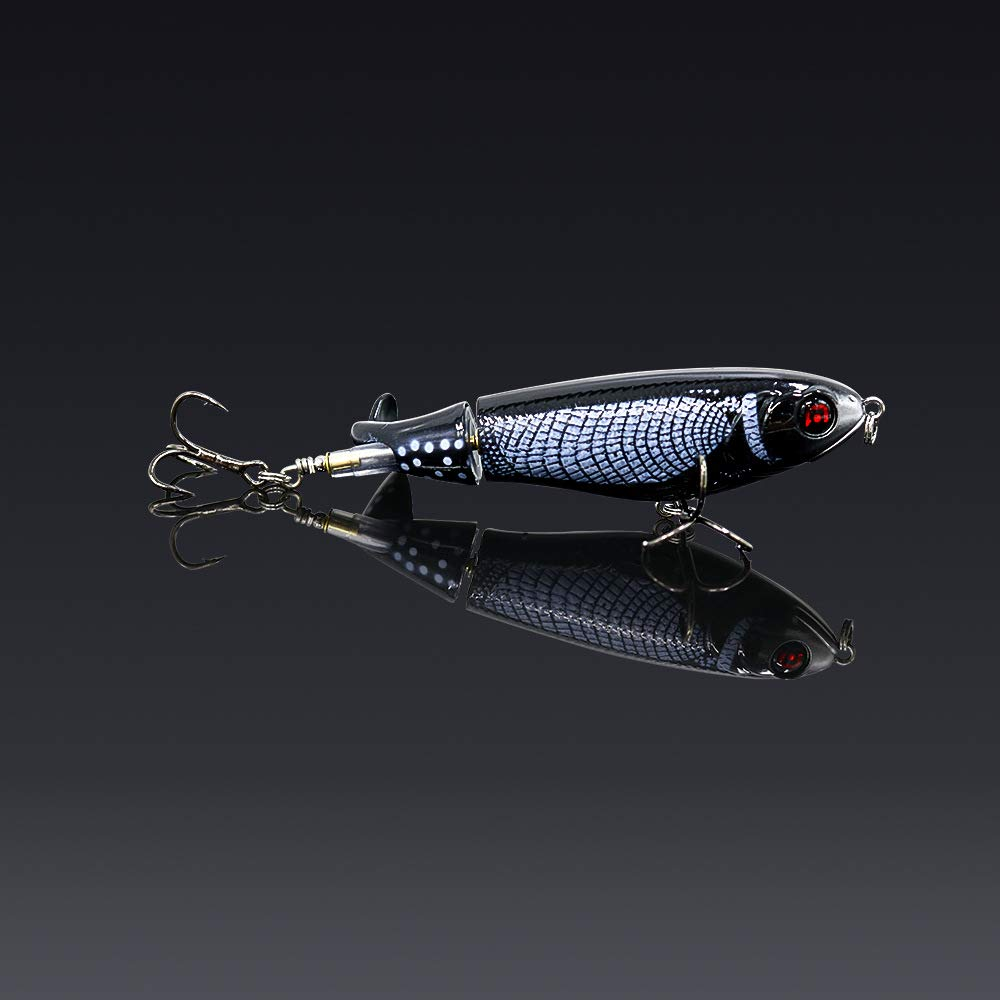 GUFIKY 10-Pack Whopper Plopper Fishing Lures 4.13 inch/0.6 oz with Rotating Spins Tail for Bass,Trout ,Walleye,Pike and Musky Topwater Floating Hard Baits Swimbaits with Barb Treble Hooks by GUFIKY (Image #5)