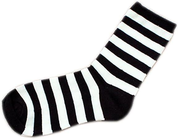 mogist Mujer Zapatillas Calcetines Fácil clásica negra rayas blancas otoño invierno Medio larga algodón transpirable medio larga Calcetines negro (rayas): Amazon.es: Hogar