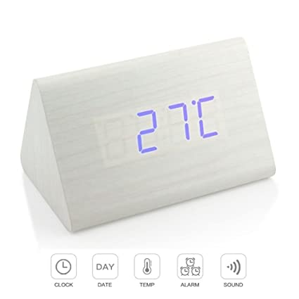 Despertador, Reloj de escritorio LED de madera digital Termómetro Minutero Calendario,OOLIFENG
