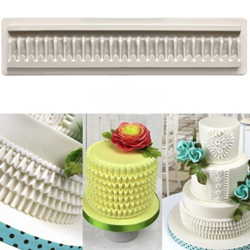 Pretty-in-Pleats Border Silicone Fondant Mold Pleated lace fondant mold for Cake Decoration, Cupcake Decorate, Polymer Clay