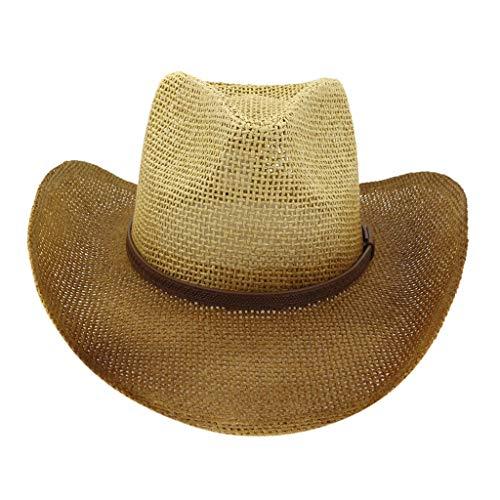 Down Home Fun Raffia Hat - Shmei Men & Women's Hats Durable Woven Straw Cowboy Hat Classic Cattleman Cowgirl Straw Cap Wide Brim Beach Sun Hats UV UPF 50,Lightweight, Foldable (Beige)