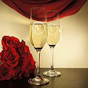 Crystal Personalized Champagne Toasting Flute Set (Two Flutes)