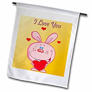 Edmond Hogge Jr Cartoons - I Love You Rabbit - 12 x 18 inch Garden Flag (fl_56832_1)