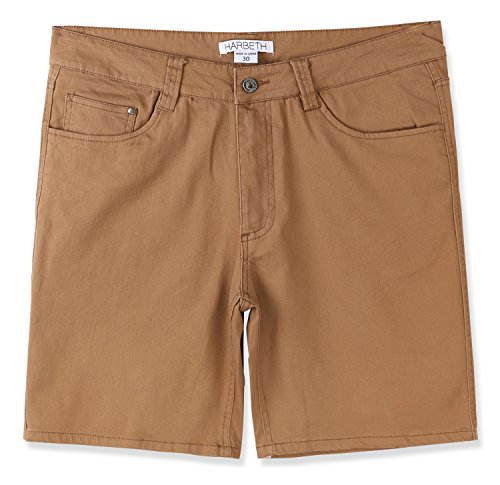 HARBETH Men's Casual Classic Fit Flat-Front Stretch Solid Chino Walk Short Dark Khaki 30