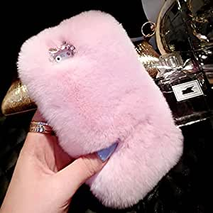 iPhone 6 Case,LC Extreme Luxury Bling Cover Winter Wammer Handmade Soft Light Pink Rabbit Fur Case Accessories For iPhone 6 4.7''