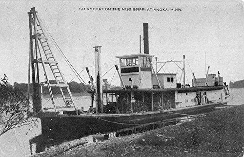 Anoka Minnesota Steamboat On Mississippi Antique Postcard K81850 (Postcard Mississippi)