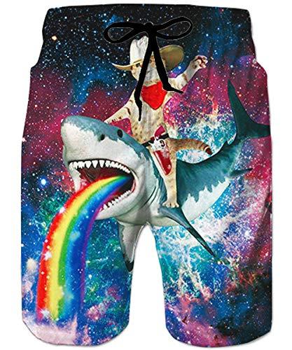 ALISISTER Mens XL Swim Trunks Quick Dry Surf Beach Shorts 80S Colorful Summer Swimwear Elastic Waist Pocket