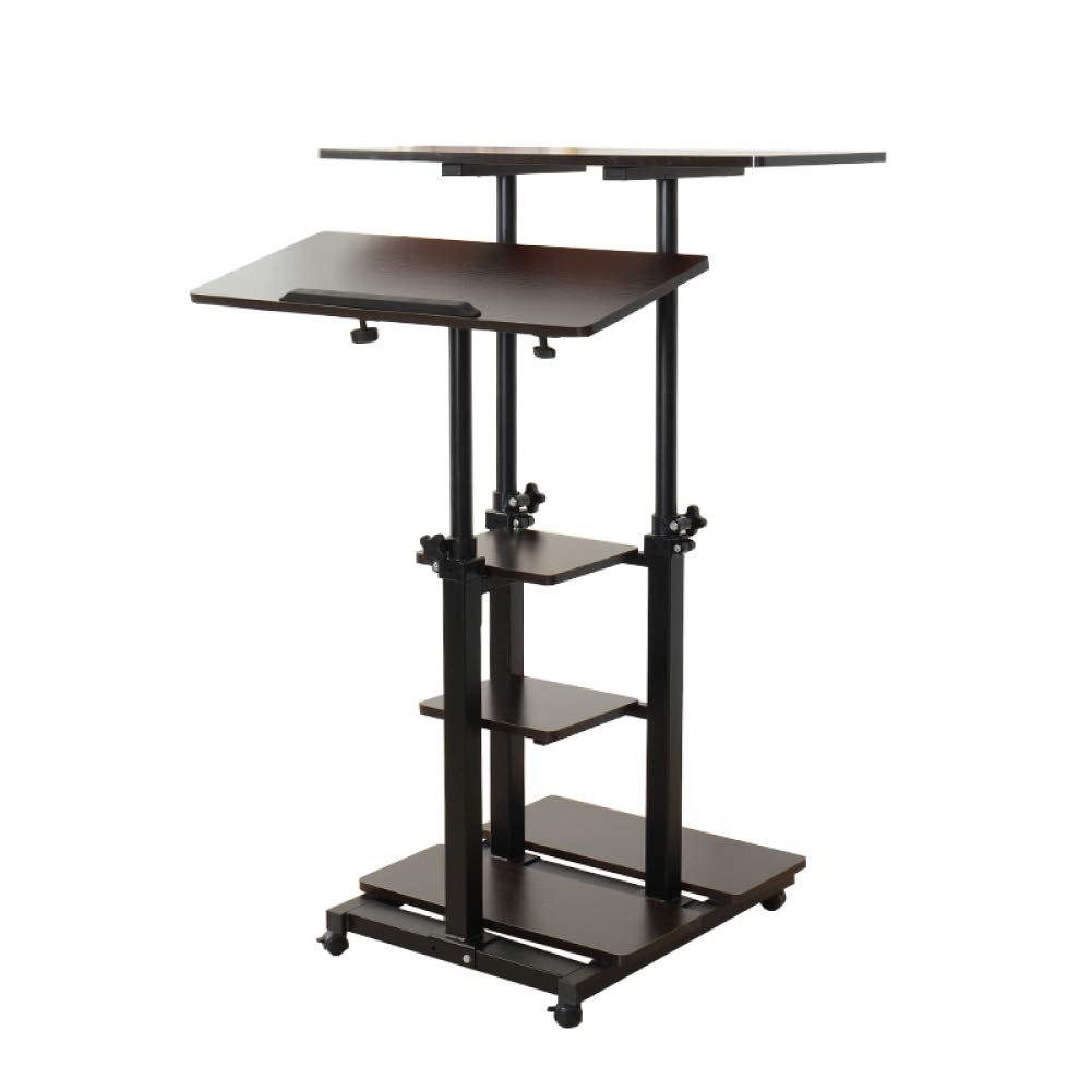 LIULIFE Computer Workstation Height Adjustable Multi-Purpose Rolling Podium Laptop Cart Desk Lectern with Storage Tray