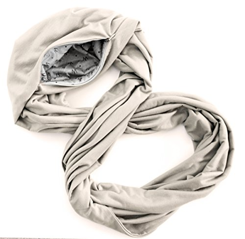 TRAVEL SCARF by WAYPOINT GOODS // Infinity Scarf with Hidden Pocket (Cream)