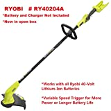 Slicktron Ryobi RY40204A 40-Volt Lithium-Ion Cordless String Trimmer - Battery and Charger Not Included