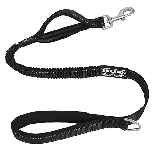 (ZOOLAND Stretch Free Flexible Leash with Bungee Cord, Great Shock-Absorbing Ability, Much Comfortable to Dog and People. Nylon Webbing with Bouble Reflective Trims,Training Leashes for Large Dogs)