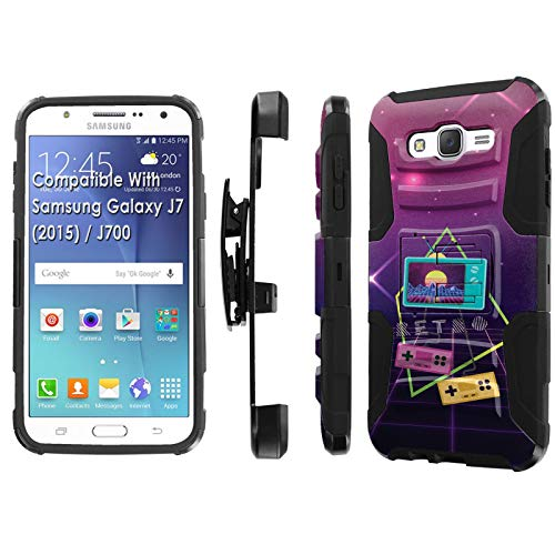 Samsung Galaxy J7 2015 / J700H / J700T Phone Cover Case by [TalkingCase],Black/Black Premium Dual Layer Armor Case, w/Holster & Kickstand, J7 2015,J700T [Retro 80s] Print, Design in USA
