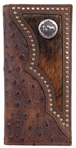 Custom Praying Cowboy Long Ostrich Print Wallet with hair and hide inlay