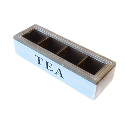 Caja de té de 4 compartimentos 34 x 11 x 8 cm | Caja para guardar