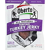 Oberto All Natural Teriyaki Turkey Jerky, 3.25-Ounce Bag (Pack of 4)