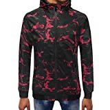 Clearance Mens T Shirts WEUIE Mens Camouflage Zipper Pullover Long Sleeve Hooded Sweatshirt Tops Blouse (3XL, Red)