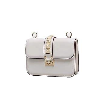 3cbc3dbb4f40f Eeayyygch Umhängetasche Nieten Kleine Paket Kette Tasche Mini Tofu Bag  Schulter Portable Diagonal Female Bag (