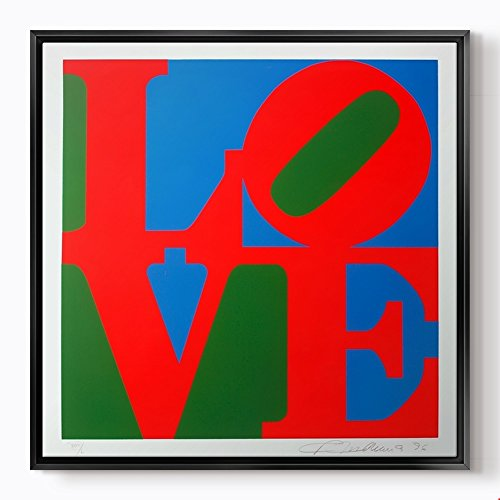 PlusCanvas - Love - Robert Indiana - 100 x 100cm (40'' x 40'') Black Framed Print by PlusCanvas