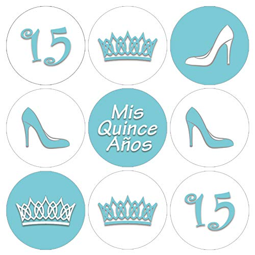 (Quinceanera Party Favor Labels | 216 Stickers (Robin's Egg)